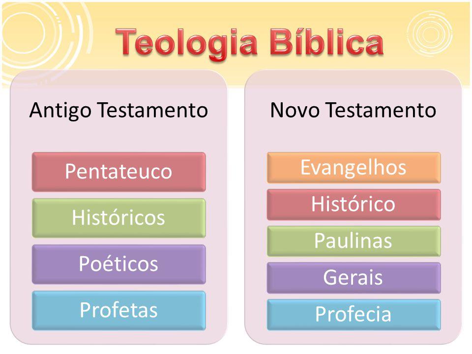 Antigo Testamento PentateucoHistóricosPoéticosProfetas Novo Testamento EvangelhosHistóricoPaulinasGeraisProfecia