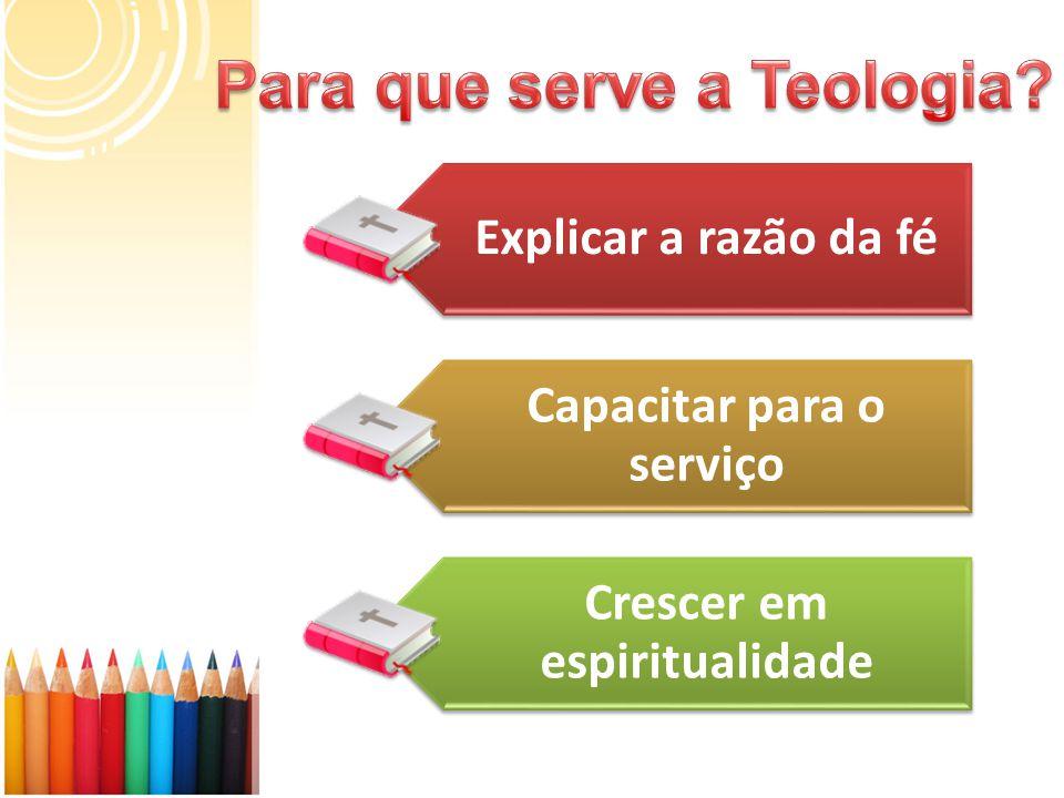 Explicar a razão da fé Capacitar para o serviço Crescer em espiritualidade