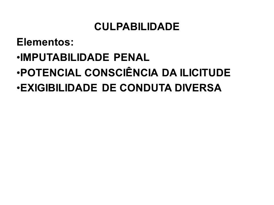 CULPABILIDADE Elementos: IMPUTABILIDADE PENAL POTENCIAL CONSCIÊNCIA DA ILICITUDE EXIGIBILIDADE DE CONDUTA DIVERSA