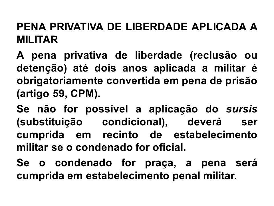 PENA PRIVATIVA DE LIBERDADE APLICADA A MILITAR A pena privativa de liberdade (reclusão ou detenção) até dois anos aplicada a militar é obrigatoriament