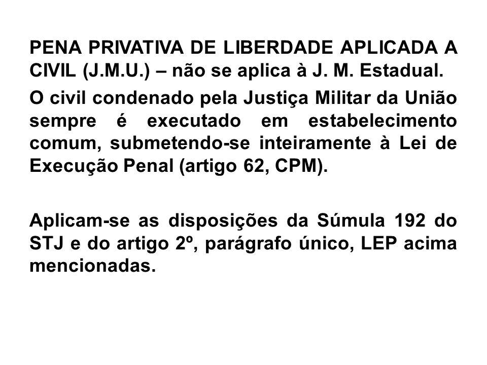 PENA PRIVATIVA DE LIBERDADE APLICADA A CIVIL (J.M.U.) – não se aplica à J. M. Estadual. O civil condenado pela Justiça Militar da União sempre é execu