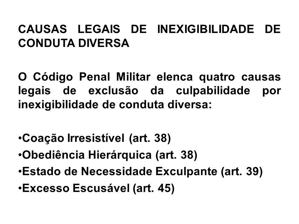 CAUSAS LEGAIS DE INEXIGIBILIDADE DE CONDUTA DIVERSA O Código Penal Militar elenca quatro causas legais de exclusão da culpabilidade por inexigibilidad