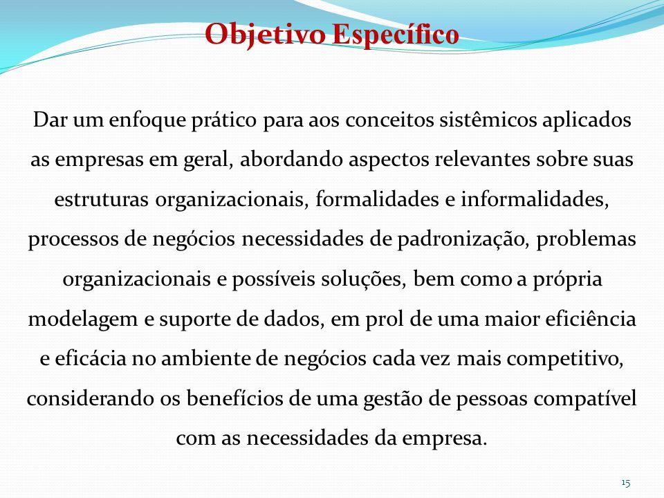 15 Objetivo Específico Dar um enfoque prático para aos conceitos sistêmicos aplicados as empresas em geral, abordando aspectos relevantes sobre suas e