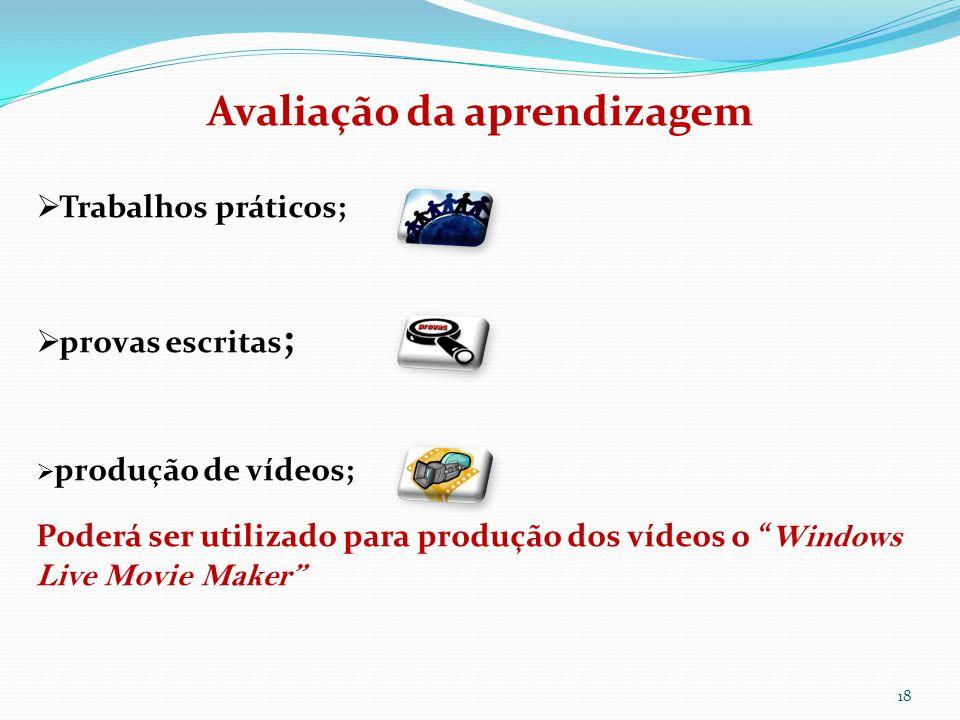 18 Avaliação da aprendizagem  Trabalhos práticos;  provas escritas ;  produção de vídeos; Poderá ser utilizado para produção dos vídeos o Windows Live Movie Maker