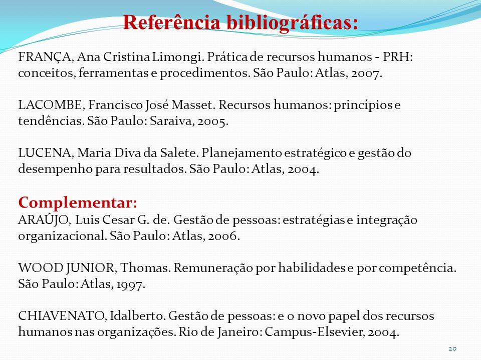 20 Referência bibliográficas: FRANÇA, Ana Cristina Limongi. Prática de recursos humanos - PRH: conceitos, ferramentas e procedimentos. São Paulo: Atla