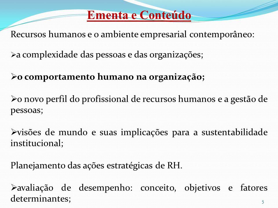Ementa e Conteúdo Recursos humanos e o ambiente empresarial contemporâneo:  a complexidade das pessoas e das organizações;  o comportamento humano n