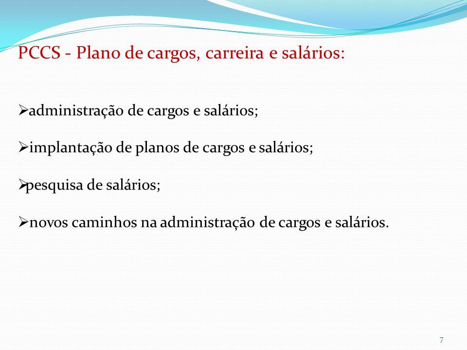 7 PCCS - Plano de cargos, carreira e salários:  administração de cargos e salários;  implantação de planos de cargos e salários;  pesquisa de salários;  novos caminhos na administração de cargos e salários.