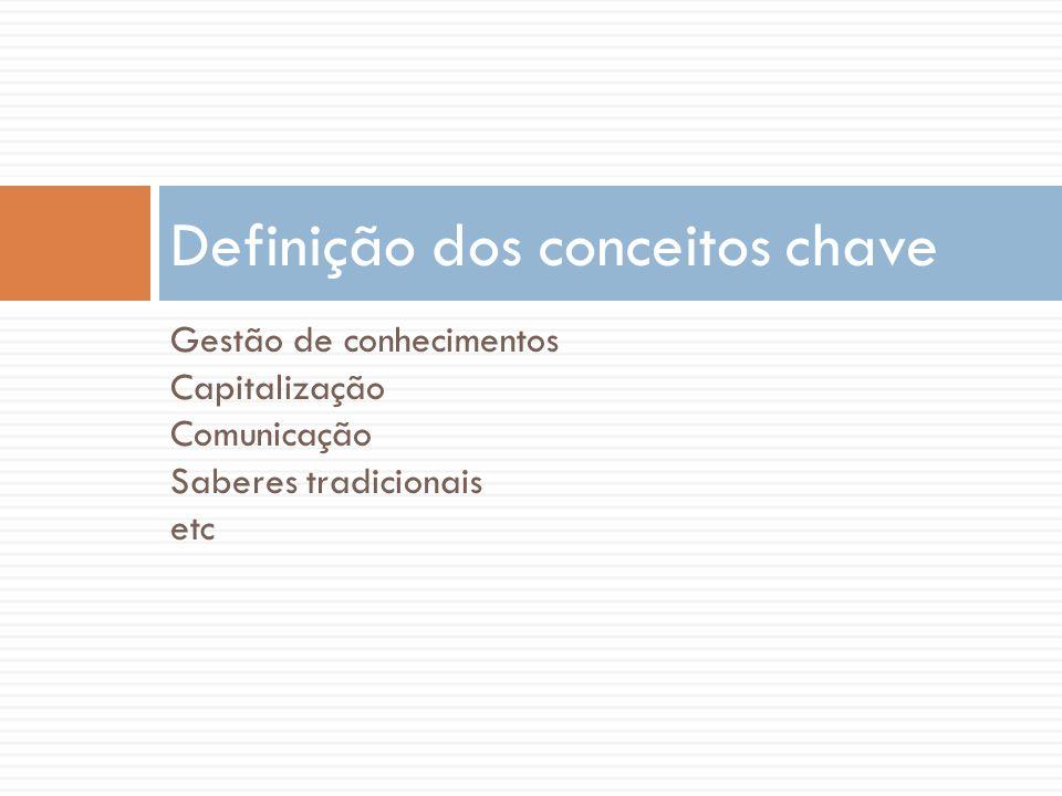 Gestão de conhecimentos Capitalização Comunicação Saberes tradicionais etc Definição dos conceitos chave