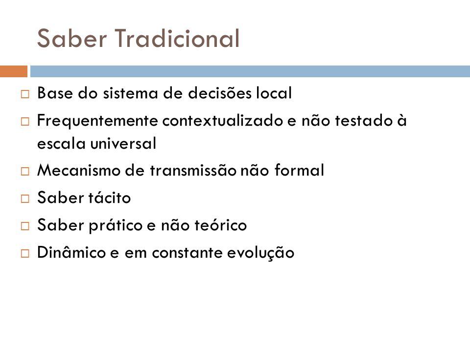 Saber Tradicional  Base do sistema de decisões local  Frequentemente contextualizado e não testado à escala universal  Mecanismo de transmissão não formal  Saber tácito  Saber prático e não teórico  Dinâmico e em constante evolução