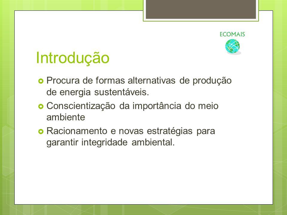 Introdução  Procura de formas alternativas de produção de energia sustentáveis.  Conscientização da importância do meio ambiente  Racionamento e no