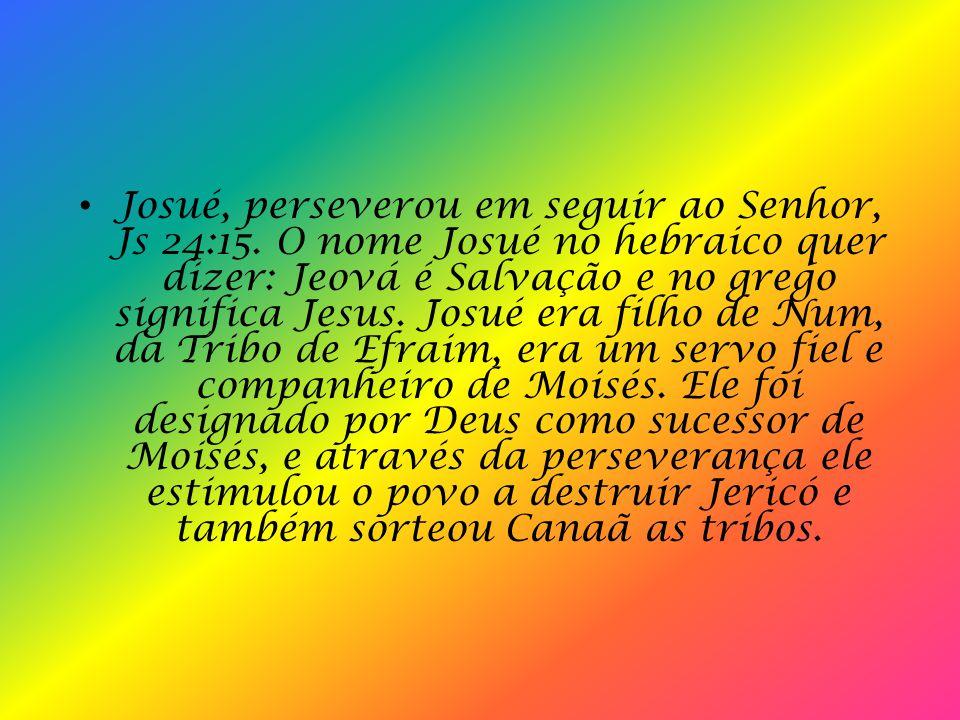 Josué, perseverou em seguir ao Senhor, Js 24:15.