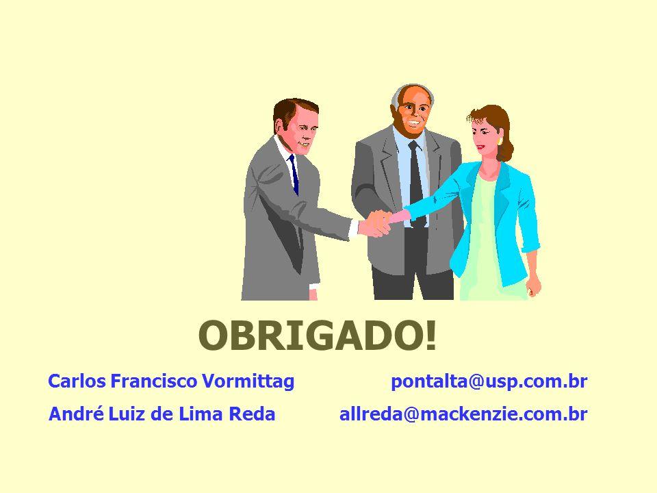 OBRIGADO! Carlos Francisco Vormittag pontalta@usp.com.br André Luiz de Lima Reda allreda@mackenzie.com.br