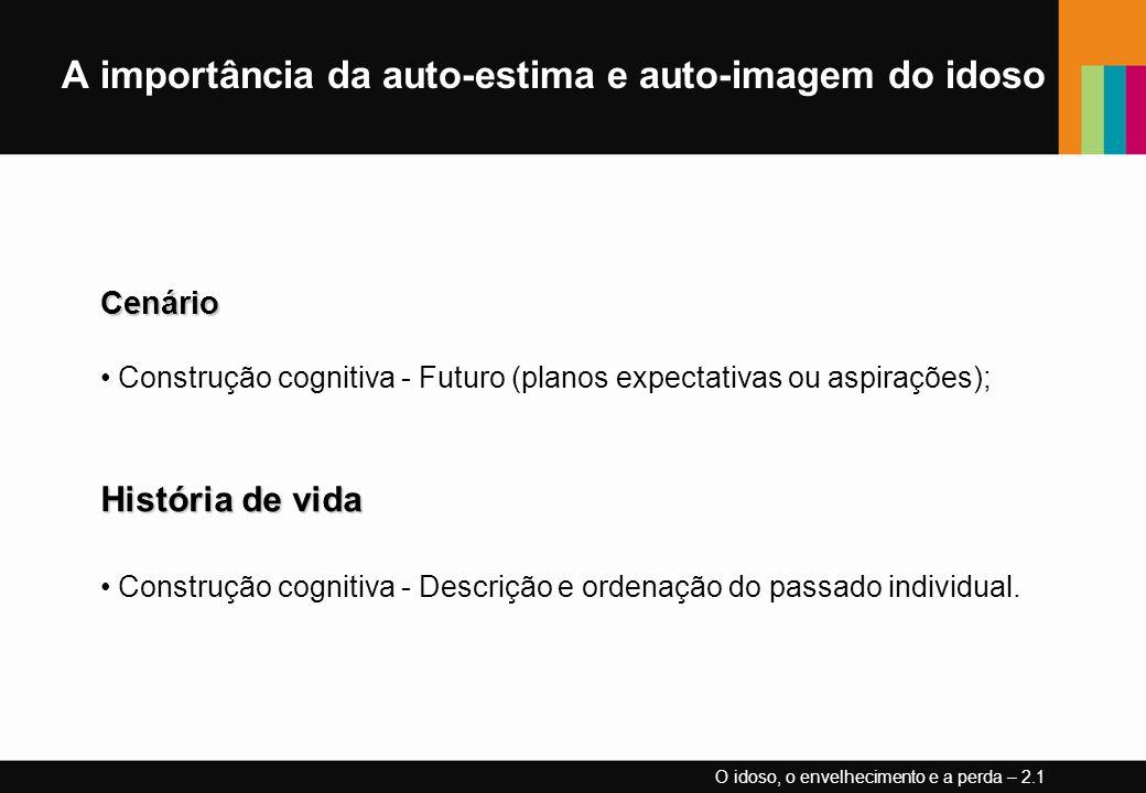 A importância da auto-estima e auto-imagem do idosoCenário Construção cognitiva - Futuro (planos expectativas ou aspirações); História de vida Constru