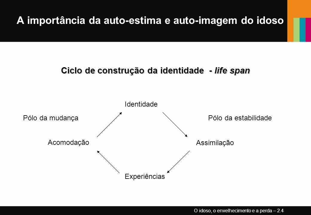 A importância da auto-estima e auto-imagem do idoso Ciclo de construção da identidade - life span O idoso, o envelhecimento e a perda – 2.4 Pólo da mu