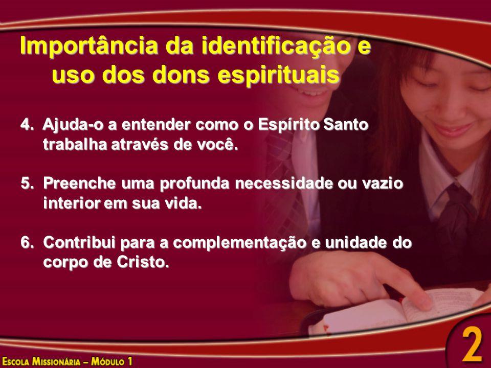 Importância da identificação e uso dos dons espirituais 4. Ajuda-o a entender como o Espírito Santo trabalha através de você. trabalha através de você