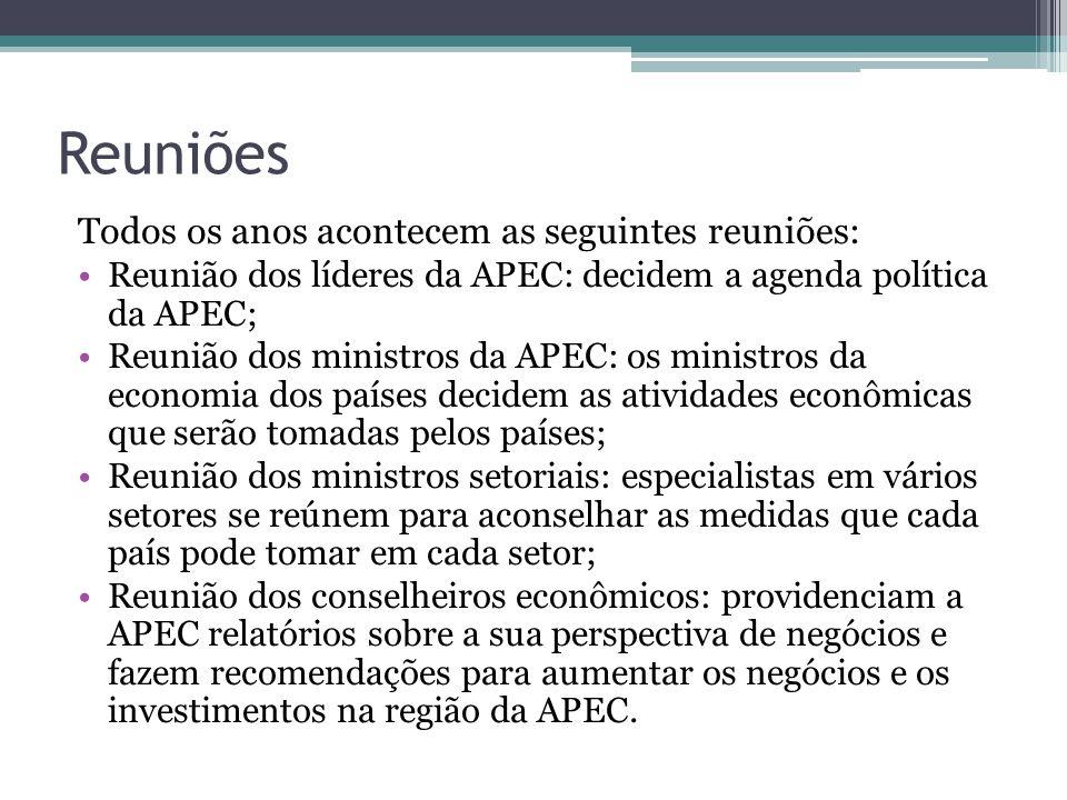 Reuniões Todos os anos acontecem as seguintes reuniões: Reunião dos líderes da APEC: decidem a agenda política da APEC; Reunião dos ministros da APEC: