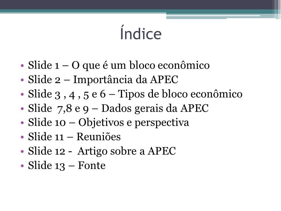 Índice Slide 1 – O que é um bloco econômico Slide 2 – Importância da APEC Slide 3, 4, 5 e 6 – Tipos de bloco econômico Slide 7,8 e 9 – Dados gerais da