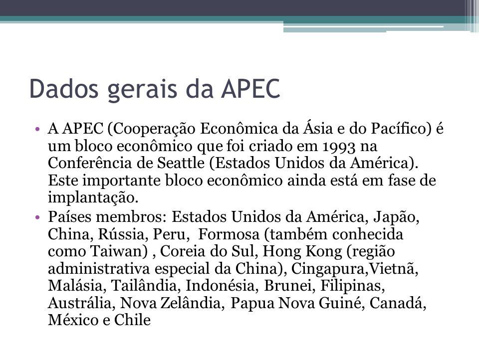 Dados gerais da APEC A APEC (Cooperação Econômica da Ásia e do Pacífico) é um bloco econômico que foi criado em 1993 na Conferência de Seattle (Estado
