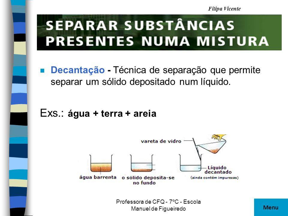 Filipa Vicente Professora de CFQ - 7ºC - Escola Manuel de Figueiredo n Filtração – Técnica que permite separar partículas sólidas em suspensão num líquido.