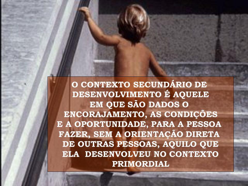 O CONTEXTO SECUNDÁRIO DE DESENVOLVIMENTO É AQUELE EM QUE SÃO DADOS O ENCORAJAMENTO, AS CONDIÇÕES E A OPORTUNIDADE, PARA A PESSOA FAZER, SEM A ORIENTAÇÃO DIRETA DE OUTRAS PESSOAS, AQUILO QUE ELA DESENVOLVEU NO CONTEXTO PRIMORDIAL