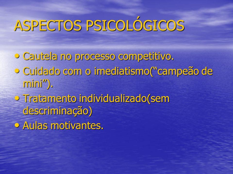 """ASPECTOS PSICOLÓGICOS Cautela no processo competitivo. Cautela no processo competitivo. Cuidado com o imediatismo(""""campeão de mini""""). Cuidado com o im"""