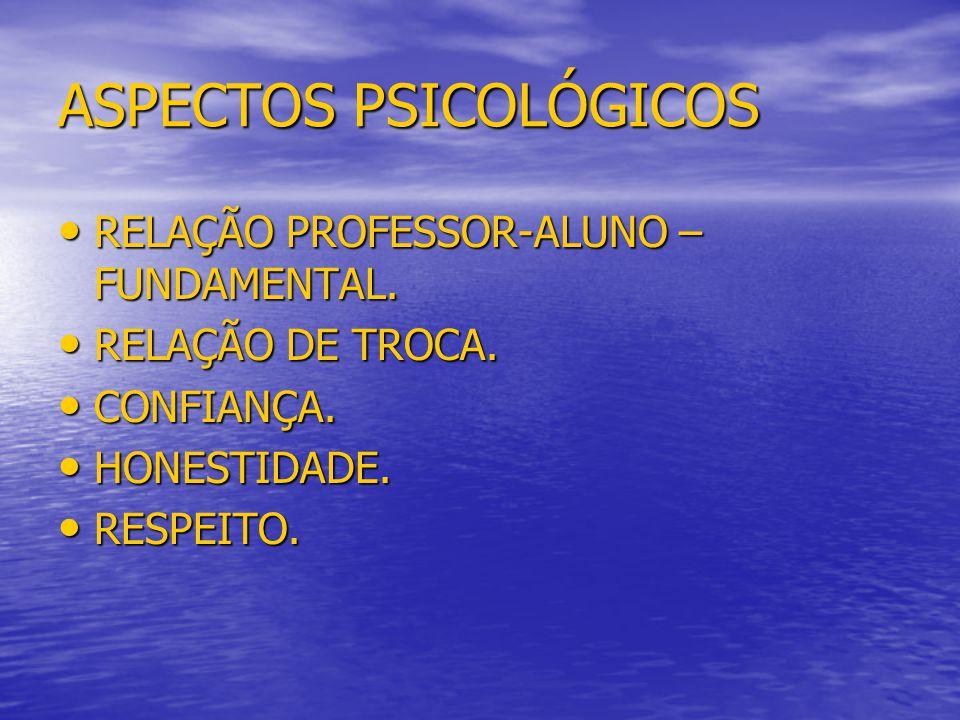 ASPECTOS PSICOLÓGICOS RELAÇÃO PROFESSOR-ALUNO – FUNDAMENTAL. RELAÇÃO PROFESSOR-ALUNO – FUNDAMENTAL. RELAÇÃO DE TROCA. RELAÇÃO DE TROCA. CONFIANÇA. CON
