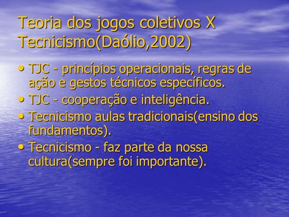 Teoria dos jogos coletivos X Tecnicismo(Daólio,2002) TJC - princípios operacionais, regras de ação e gestos técnicos específicos. TJC - princípios ope