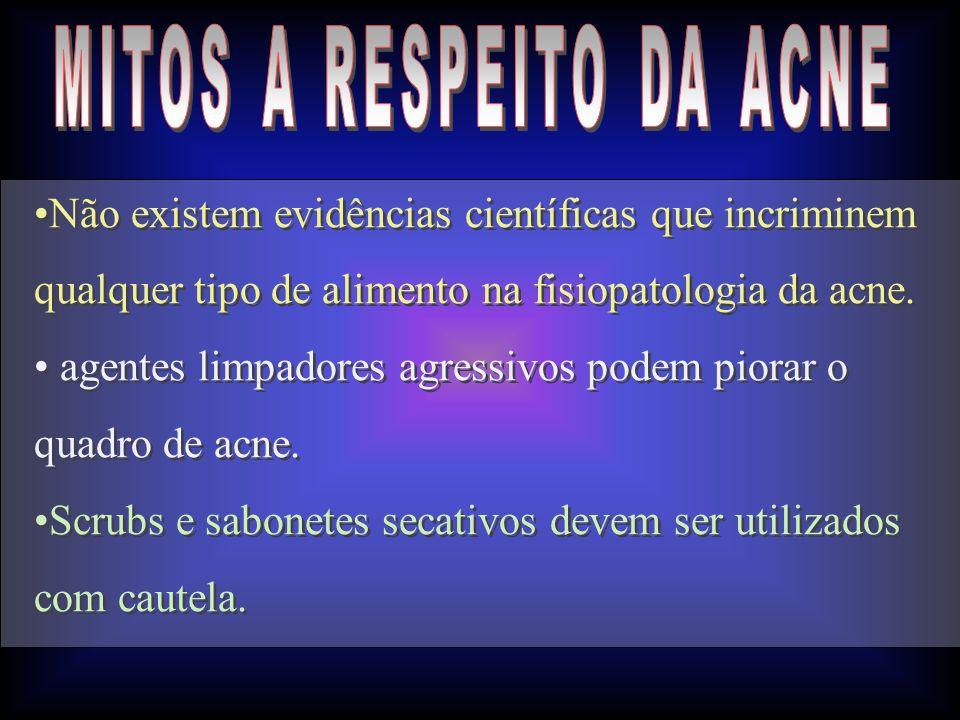 Não existem evidências científicas que incriminem qualquer tipo de alimento na fisiopatologia da acne. agentes limpadores agressivos podem piorar o qu