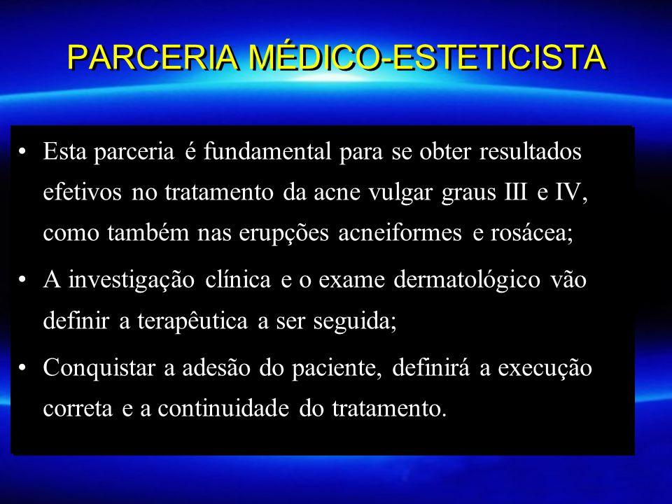 PARCERIA MÉDICO-ESTETICISTA Esta parceria é fundamental para se obter resultados efetivos no tratamento da acne vulgar graus III e IV, como também nas
