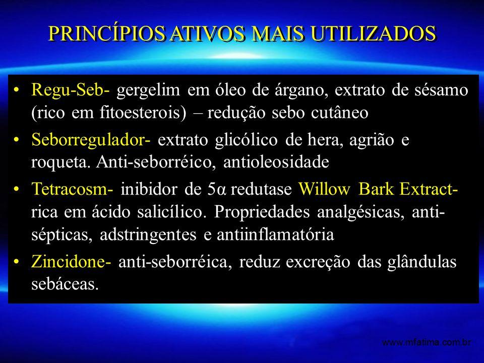Regu-Seb- gergelim em óleo de árgano, extrato de sésamo (rico em fitoesterois) – redução sebo cutâneo Seborregulador- extrato glicólico de hera, agriã