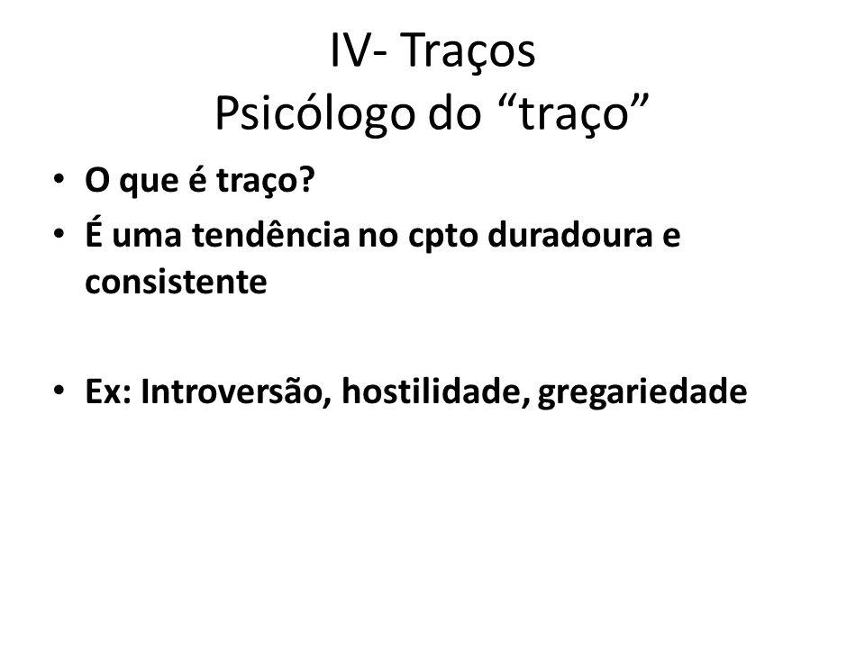 IV- Traços Psicólogo do traço O que é traço.