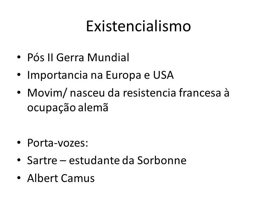 Existencialismo Pós II Gerra Mundial Importancia na Europa e USA Movim/ nasceu da resistencia francesa à ocupação alemã Porta-vozes: Sartre – estudante da Sorbonne Albert Camus