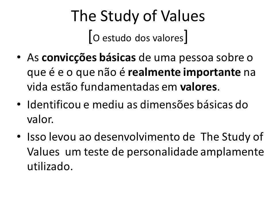 The Study of Values [ O estudo dos valores ] As convicções básicas de uma pessoa sobre o que é e o que não é realmente importante na vida estão fundamentadas em valores.