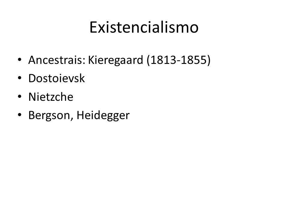 Existencialismo Ancestrais: Kieregaard (1813-1855) Dostoievsk Nietzche Bergson, Heidegger