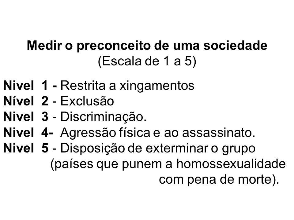 Medir o preconceito de uma sociedade (Escala de 1 a 5) Nivel 1 - Restrita a xingamentos Nível 2 - Exclusão Nivel 3 - Discriminação.