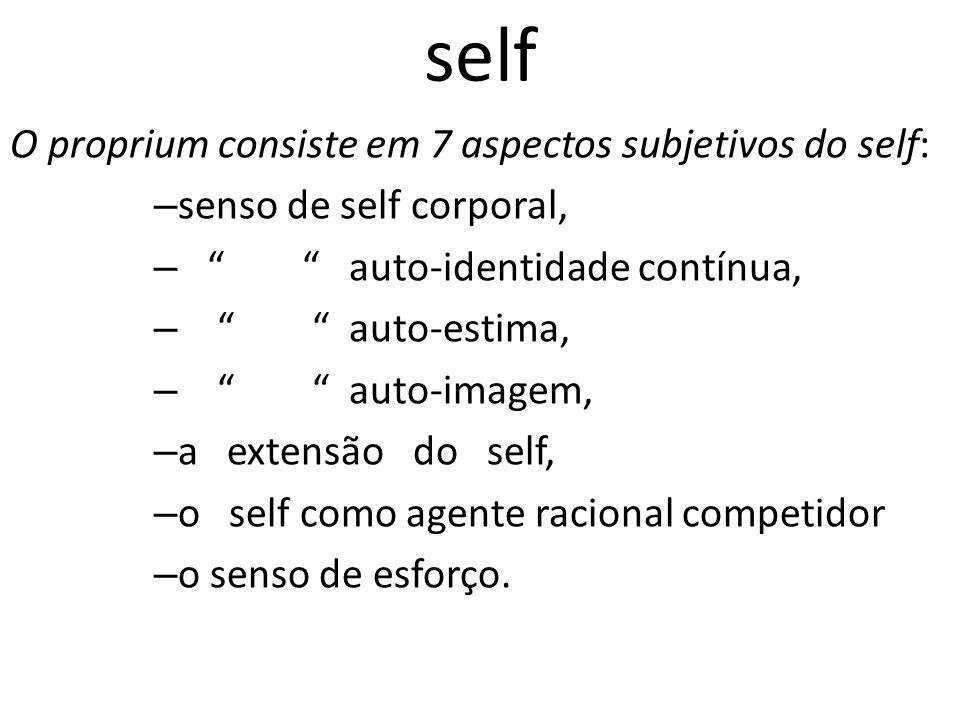 self O proprium consiste em 7 aspectos subjetivos do self: – senso de self corporal, – auto-identidade contínua, – auto-estima, – auto-imagem, – a extensão do self, – o self como agente racional competidor – o senso de esforço.