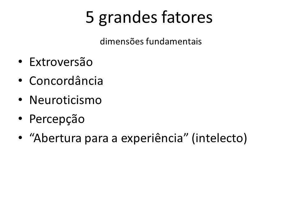 5 grandes fatores dimensões fundamentais Extroversão Concordância Neuroticismo Percepção Abertura para a experiência (intelecto)