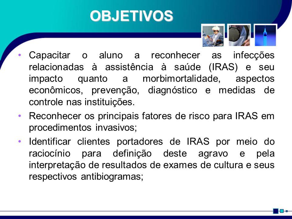 OBJETIVOS Capacitar o aluno a reconhecer as infecções relacionadas à assistência à saúde (IRAS) e seu impacto quanto a morbimortalidade, aspectos econômicos, prevenção, diagnóstico e medidas de controle nas instituições.