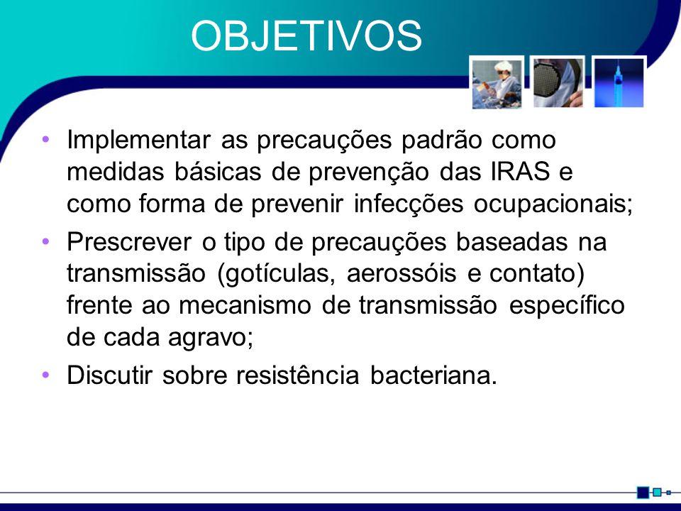 OBJETIVOS Implementar as precauções padrão como medidas básicas de prevenção das IRAS e como forma de prevenir infecções ocupacionais; Prescrever o tipo de precauções baseadas na transmissão (gotículas, aerossóis e contato) frente ao mecanismo de transmissão específico de cada agravo; Discutir sobre resistência bacteriana.