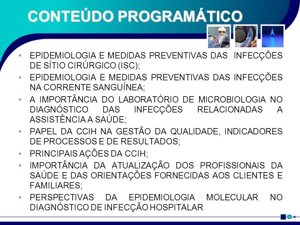 CONTEÚDO PROGRAMÁTICO EPIDEMIOLOGIA E MEDIDAS PREVENTIVAS DAS INFECÇÕES DE SÍTIO CIRÚRGICO (ISC); EPIDEMIOLOGIA E MEDIDAS PREVENTIVAS DAS INFECÇÕES NA