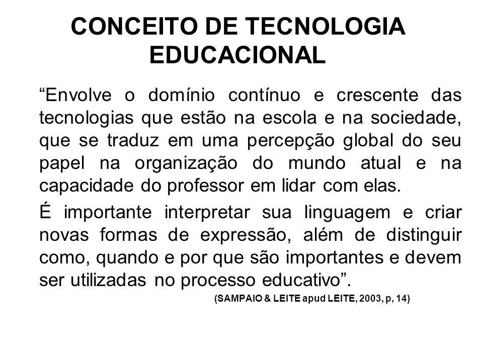 """CONCEITO DE TECNOLOGIA EDUCACIONAL """"Envolve o domínio contínuo e crescente das tecnologias que estão na escola e na sociedade, que se traduz em uma pe"""