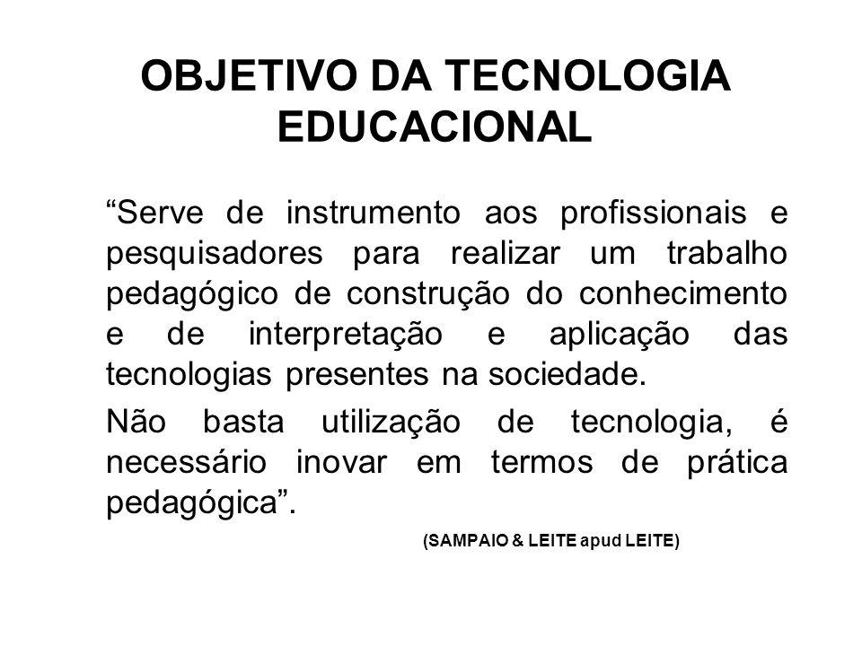 """OBJETIVO DA TECNOLOGIA EDUCACIONAL """"Serve de instrumento aos profissionais e pesquisadores para realizar um trabalho pedagógico de construção do conhe"""