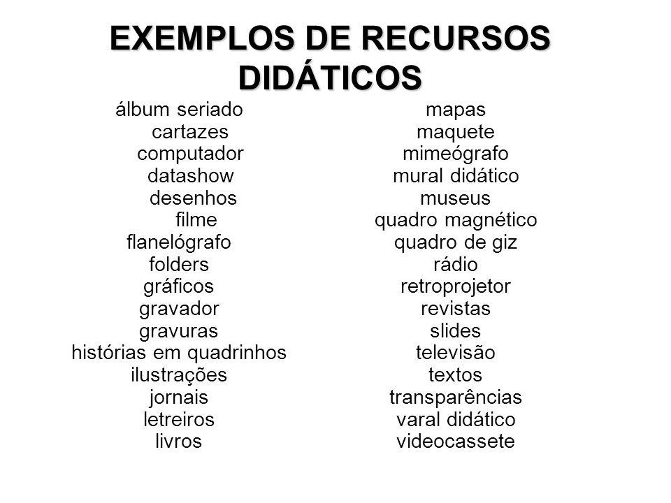 EXEMPLOS DE RECURSOS DIDÁTICOS álbum seriado cartazes computador datashow desenhos filme flanelógrafo folders gráficos gravador gravuras histórias em