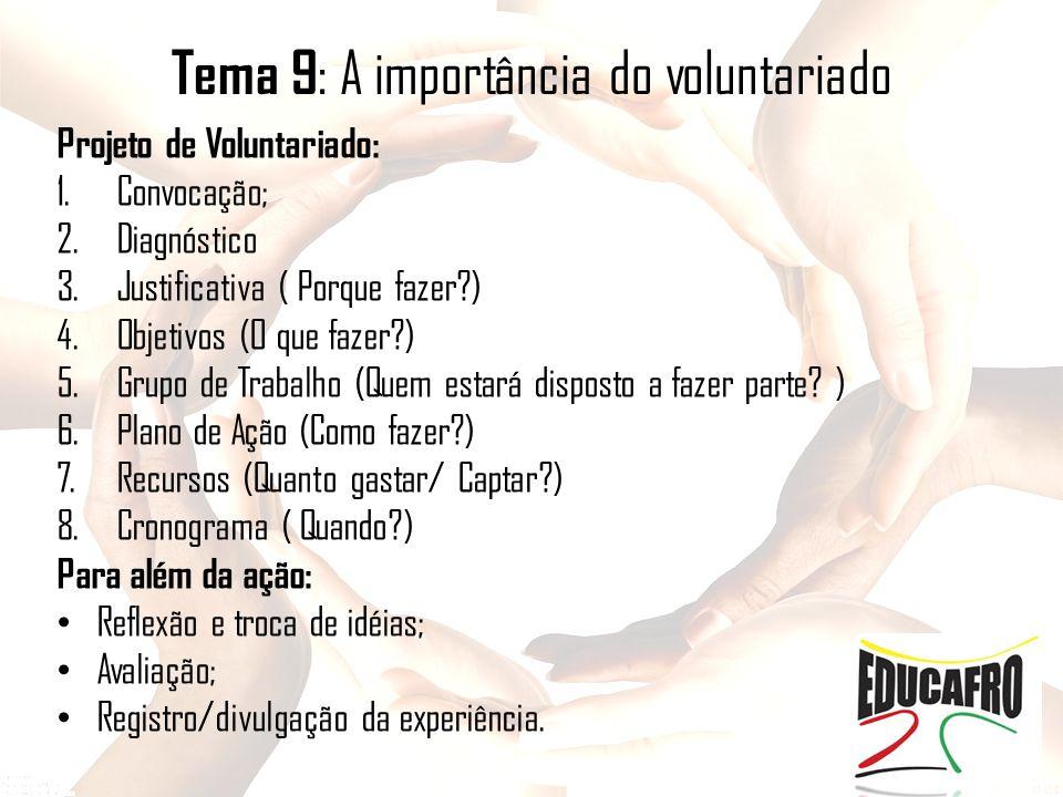Tema 9 : A importância do voluntariado Projeto de Voluntariado: 1.Convocação; 2.Diagnóstico 3.Justificativa ( Porque fazer?) 4.Objetivos (O que fazer?