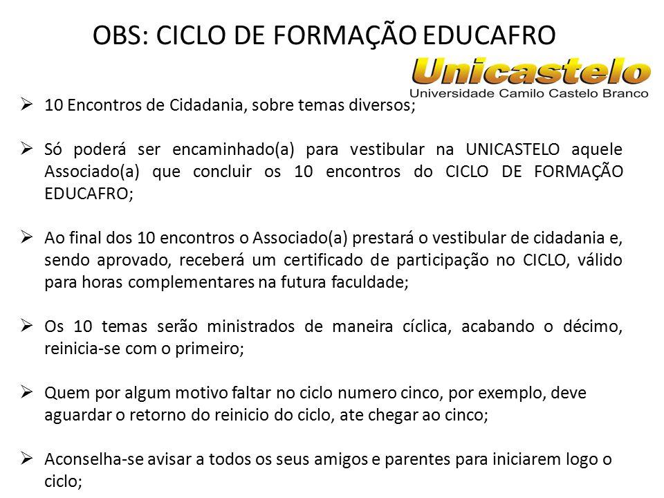 Curso de formação e Cidadania Educafro/Unicastelo T ema 01: Seja consciente, seja Cidadão – A mudança começa por você; - Dr.