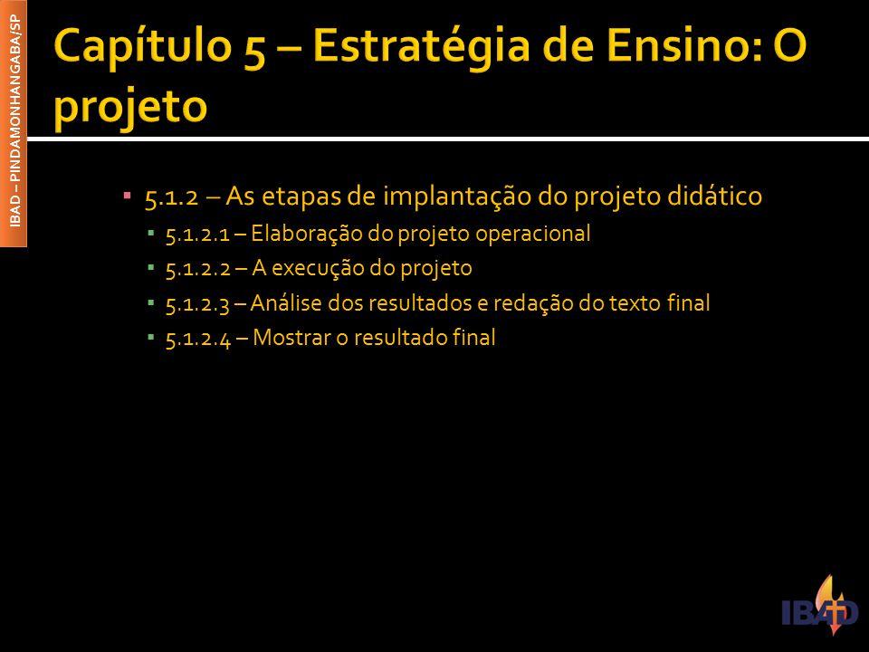 IBAD – PINDAMONHANGABA/SP ▪ 5.1.2 – As etapas de implantação do projeto didático ▪ 5.1.2.1 – Elaboração do projeto operacional ▪ 5.1.2.2 – A execução
