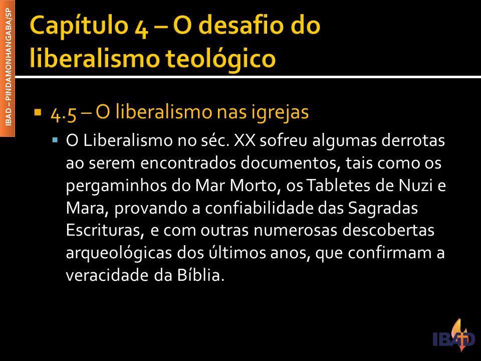 IBAD – PINDAMONHANGABA/SP  4.5 – O liberalismo nas igrejas  O Liberalismo no séc. XX sofreu algumas derrotas ao serem encontrados documentos, tais c
