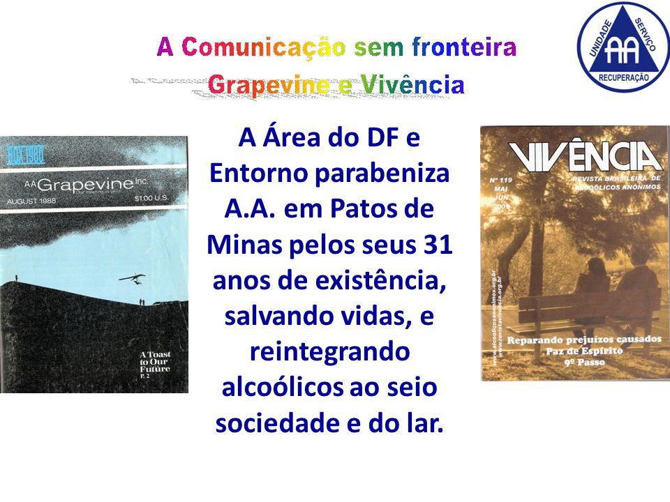 A Área do DF e Entorno parabeniza A.A.