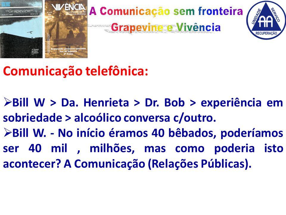Comunicação telefônica:  Bill W > Da. Henrieta > Dr.