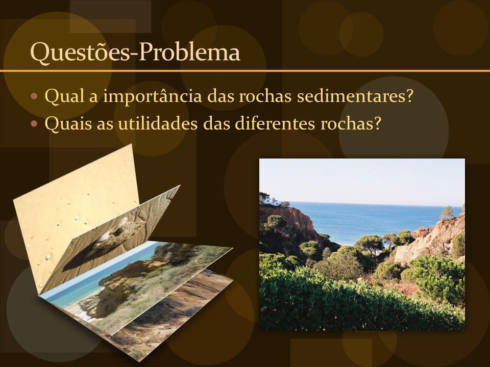 Questões-Problema Qual a importância das rochas sedimentares? Quais as utilidades das diferentes rochas?